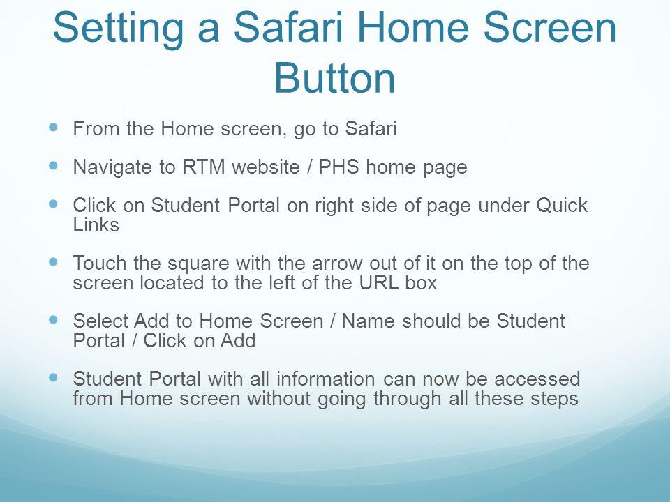 Setting a Safari Home Screen Button