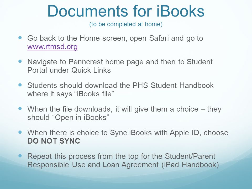 Documents for iBooks (to be completed at home)