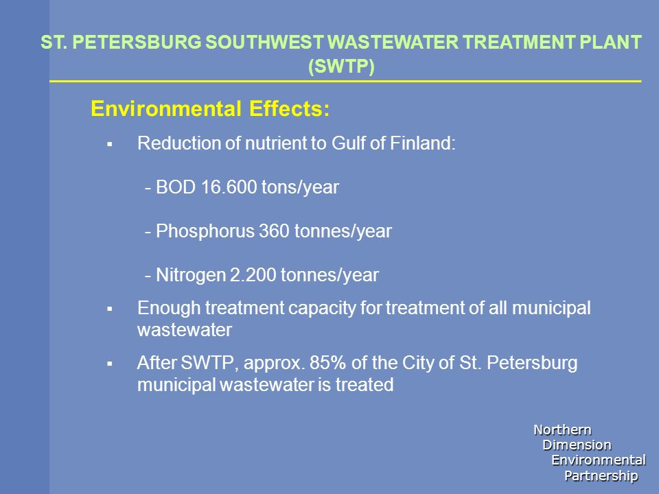 ST. PETERSBURG SOUTHWEST WASTEWATER TREATMENT PLANT (SWTP)