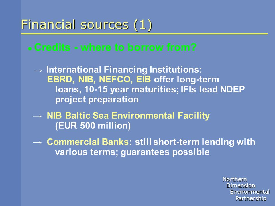 Financial sources (1)