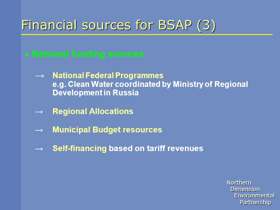 Financial sources for BSAP (3)