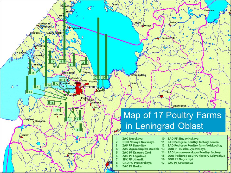 Map of 17 Poultry Farms in Leningrad Oblast