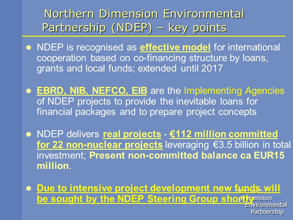 Northern Dimension Environmental Partnership (NDEP) – key points
