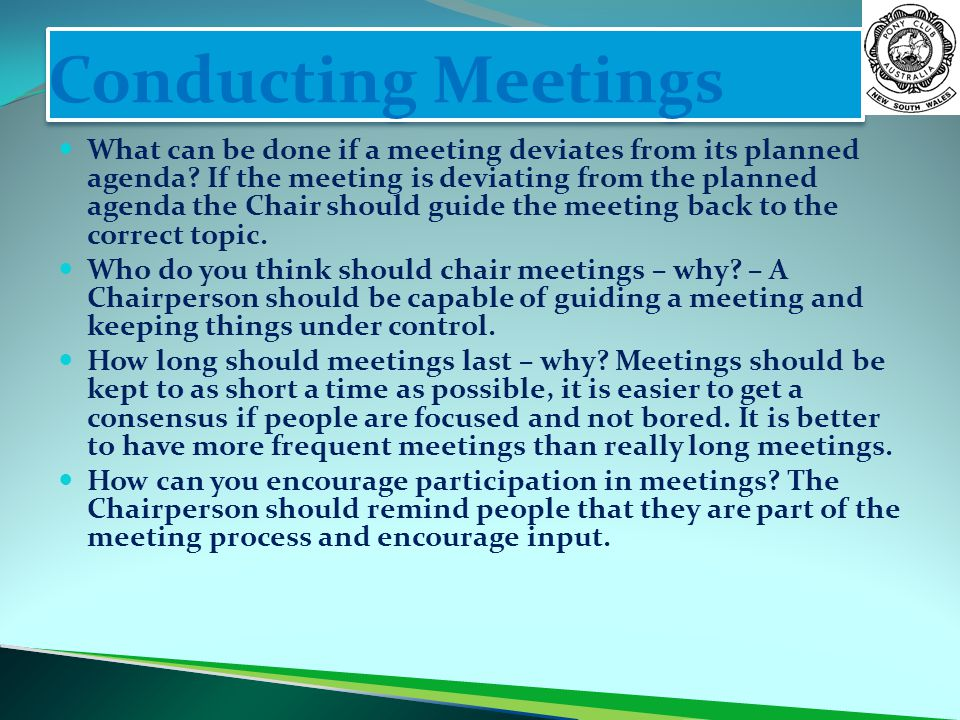 Conducting Meetings