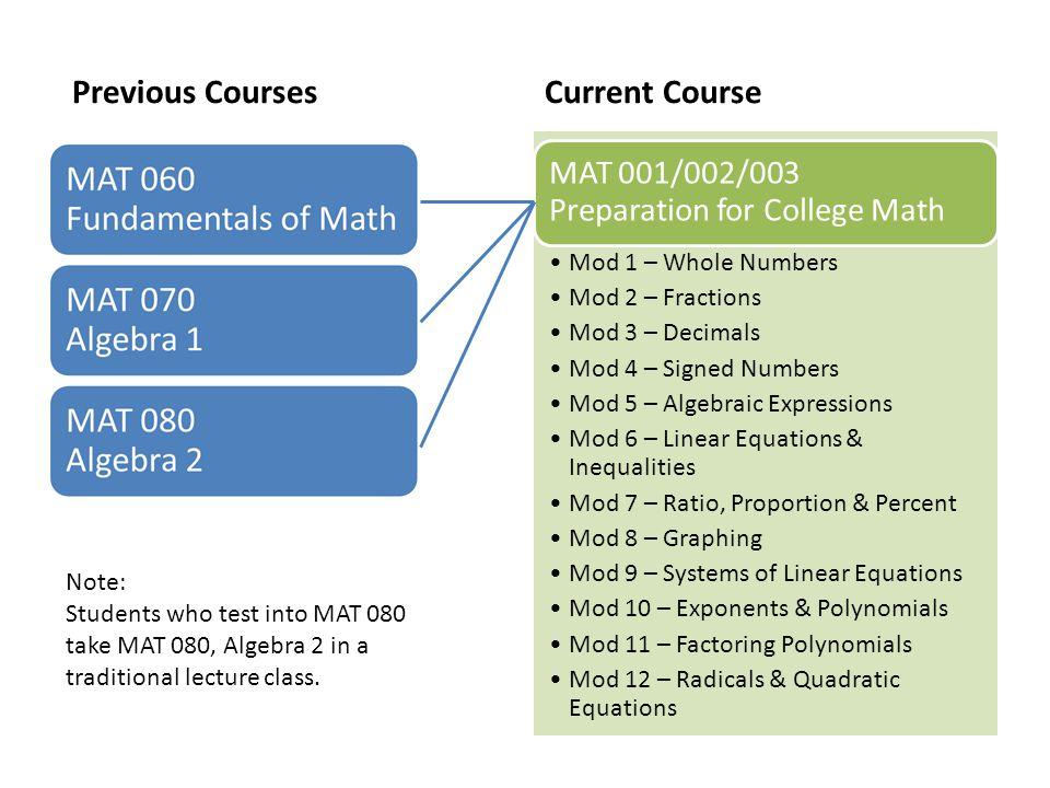 Previous Courses Current Course