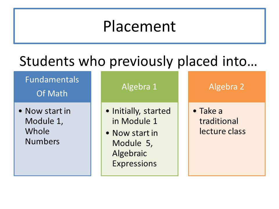 Students who previously placed into…