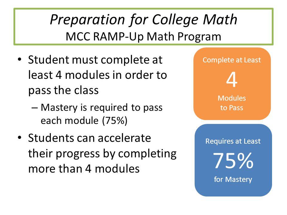 Preparation for College Math MCC RAMP-Up Math Program