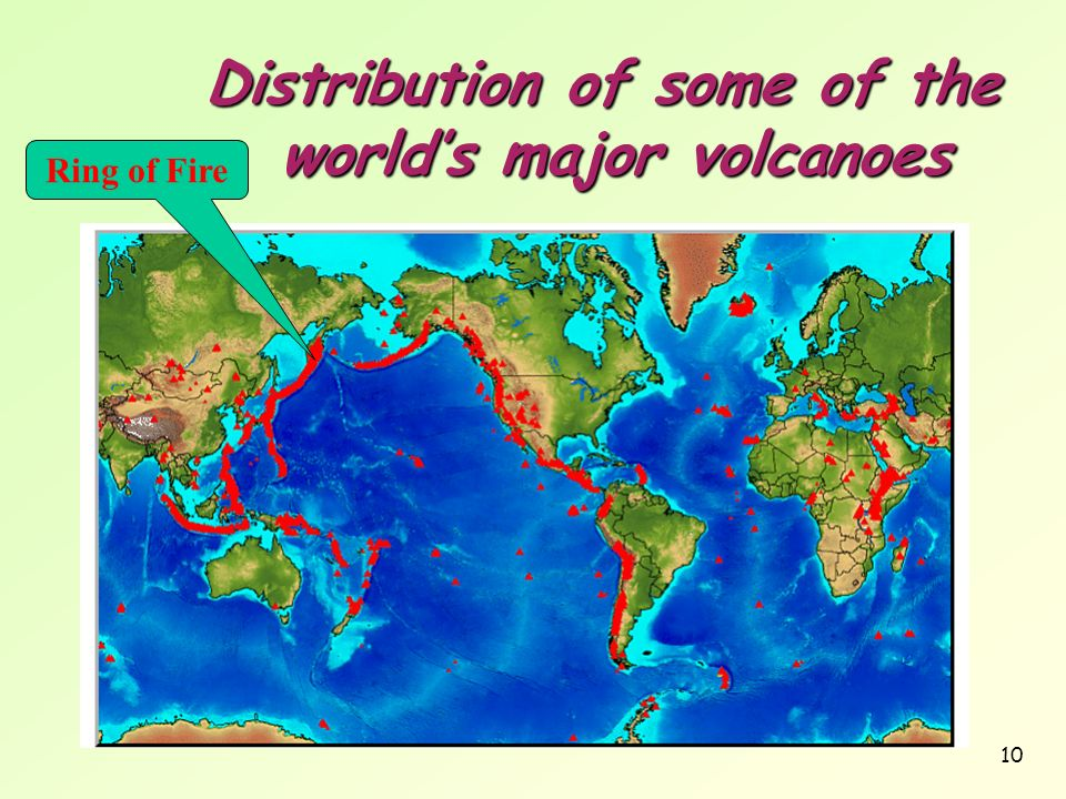 Distribution of some of the world's major volcanoes