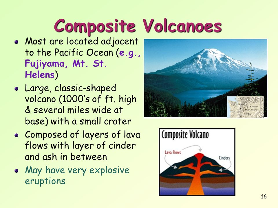 Composite VolcanoesMost are located adjacent to the Pacific Ocean (e.g., Fujiyama, Mt. St. Helens)