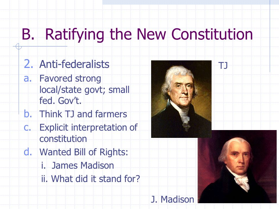 B. Ratifying the New Constitution