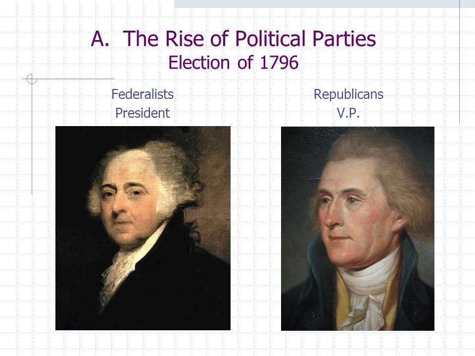 A. The Rise of Political Parties Election of 1796