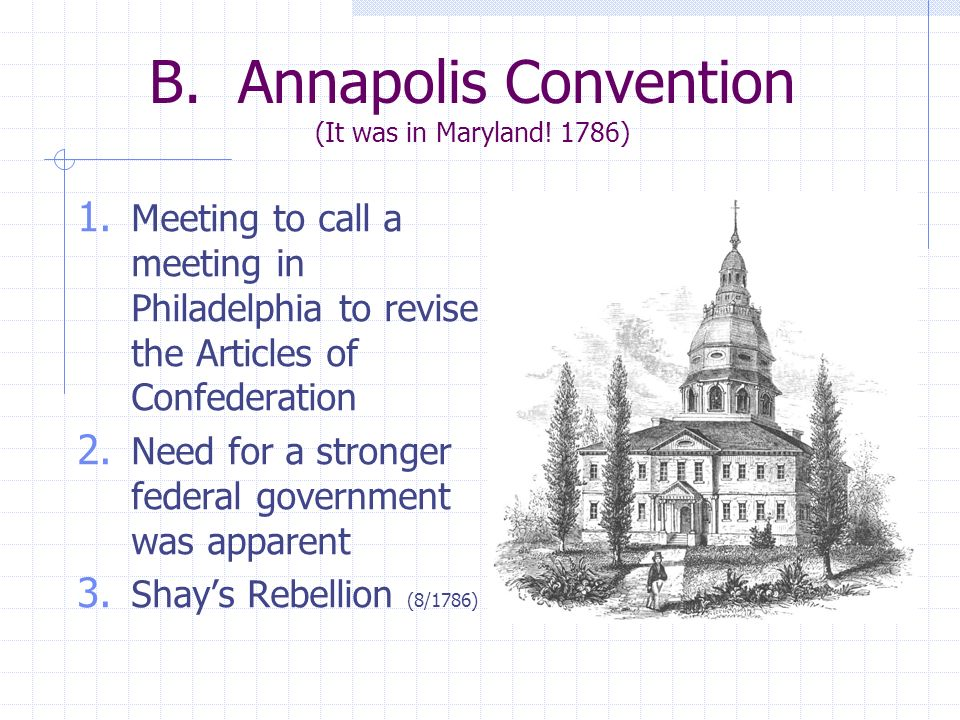 B. Annapolis Convention (It was in Maryland! 1786)