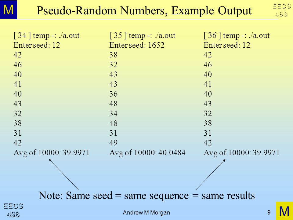 Pseudo-Random Numbers, Example Output