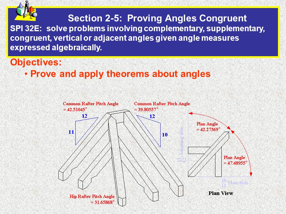 Section 2-5: Proving Angles Congruent SPI 32E: solve problems involving complementary, supplementary, congruent, vertical or adjacent angles given angle measures expressed algebraically.