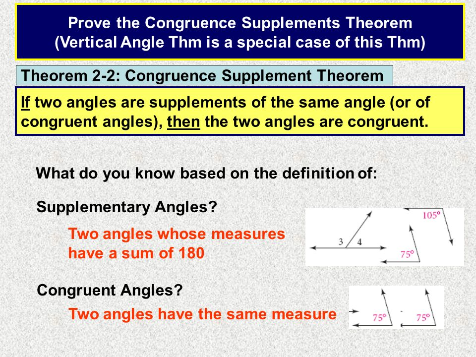 Prove the Congruence Supplements Theorem
