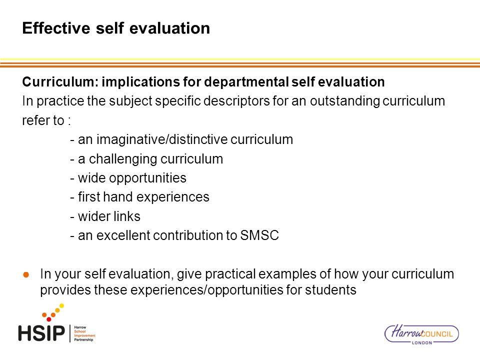 Effective self evaluation