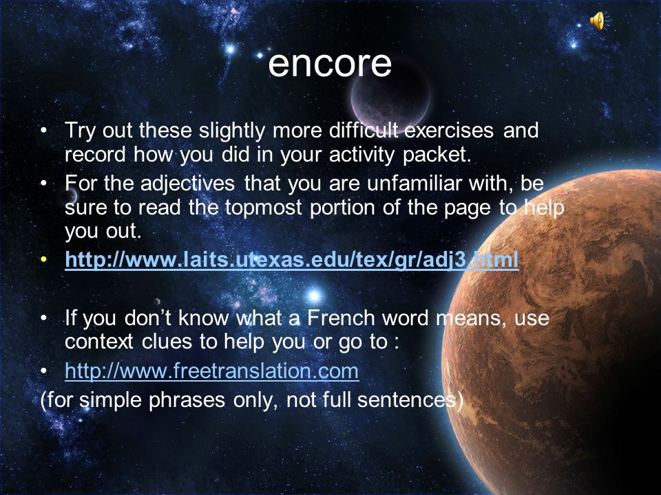 encore Try out these slightly more difficult exercises and record how you did in your activity packet.