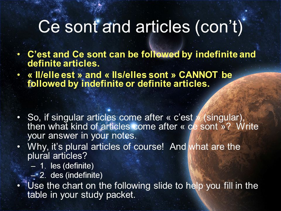 Ce sont and articles (con't)