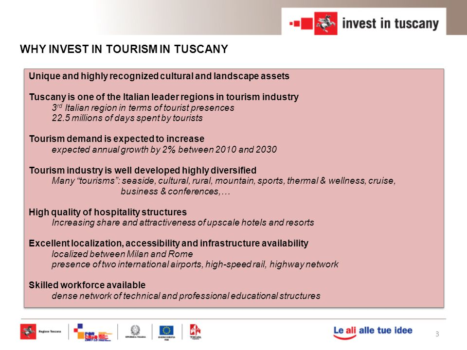 WHY INVEST IN TOURISM IN TUSCANY
