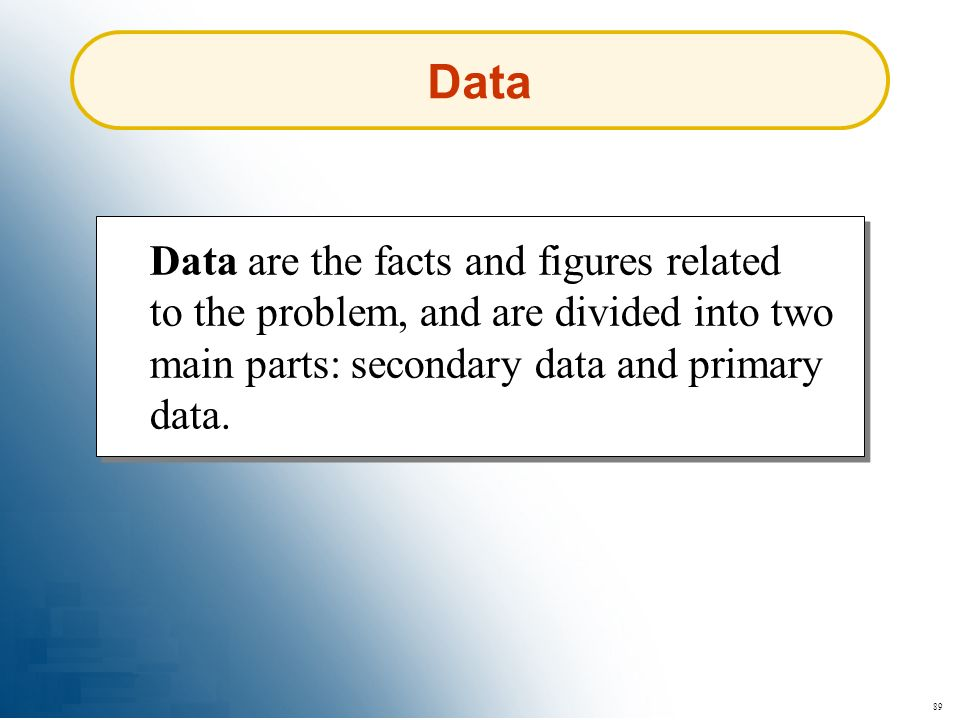 Data Data are the facts and figures related to the problem, and are divided into two main parts: secondary data and primary data.
