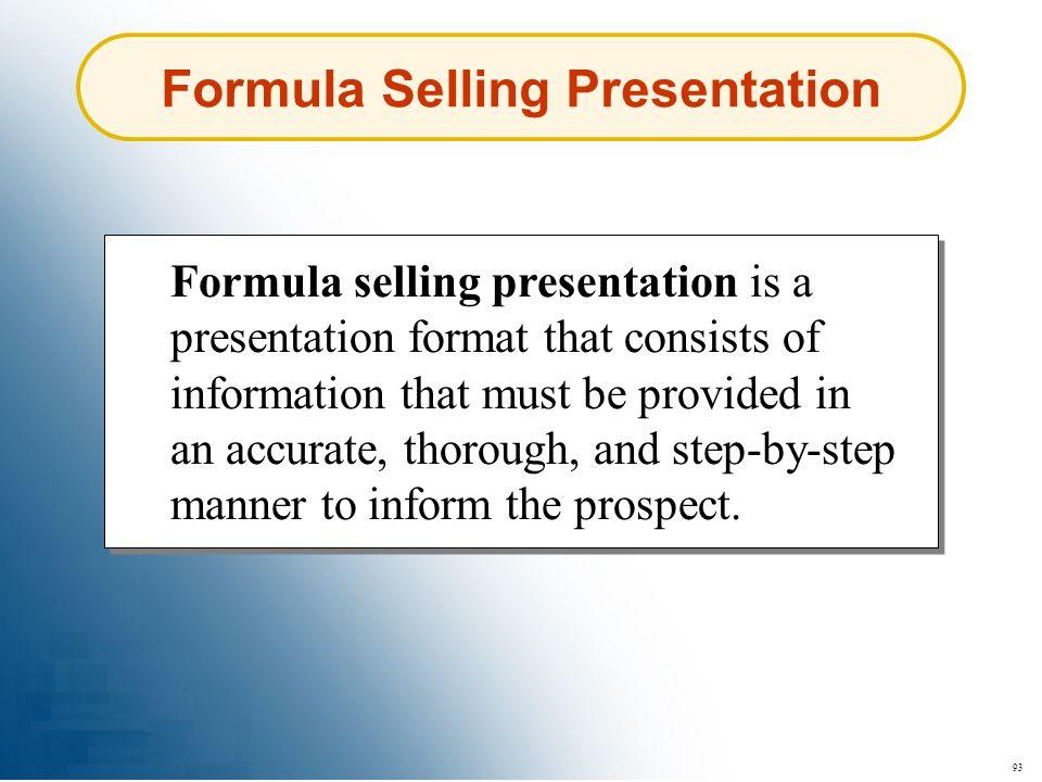 Formula Selling Presentation