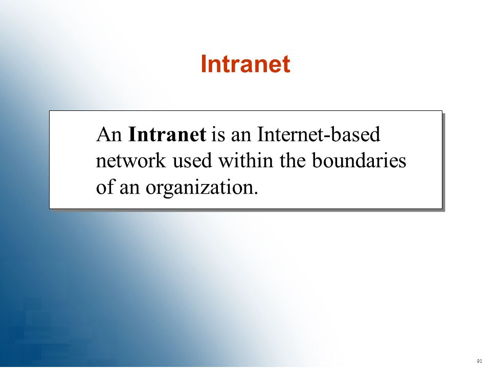 Intranet An Intranet is an Internet-based network used within the boundaries of an organization. 90