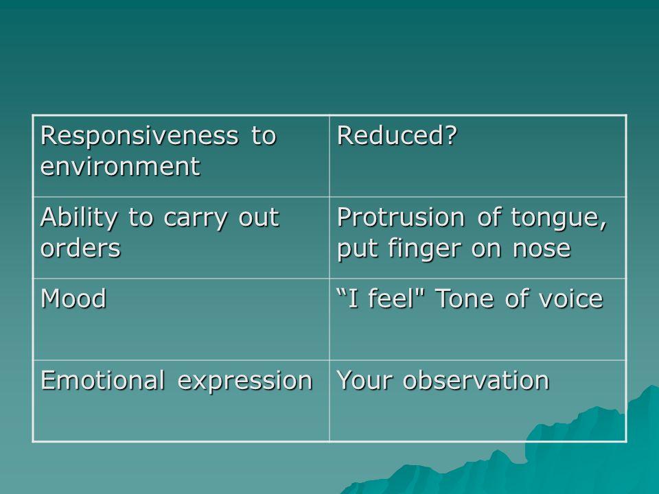 Responsiveness to environment