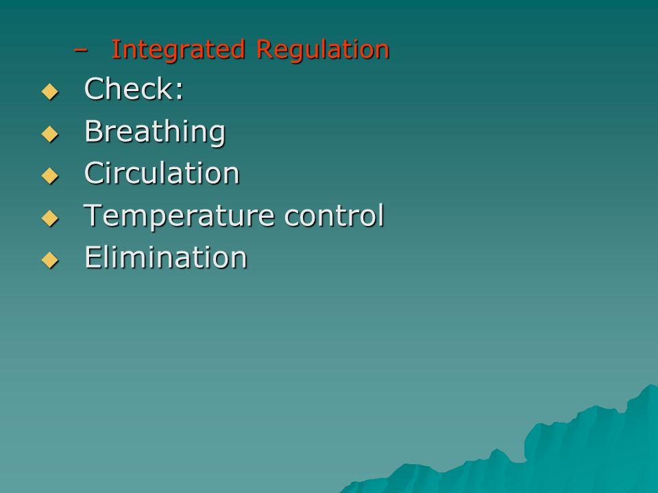 Check: Breathing Circulation Temperature control Elimination