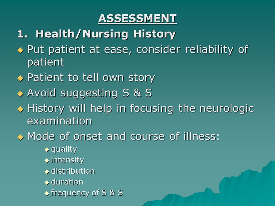1. Health/Nursing History