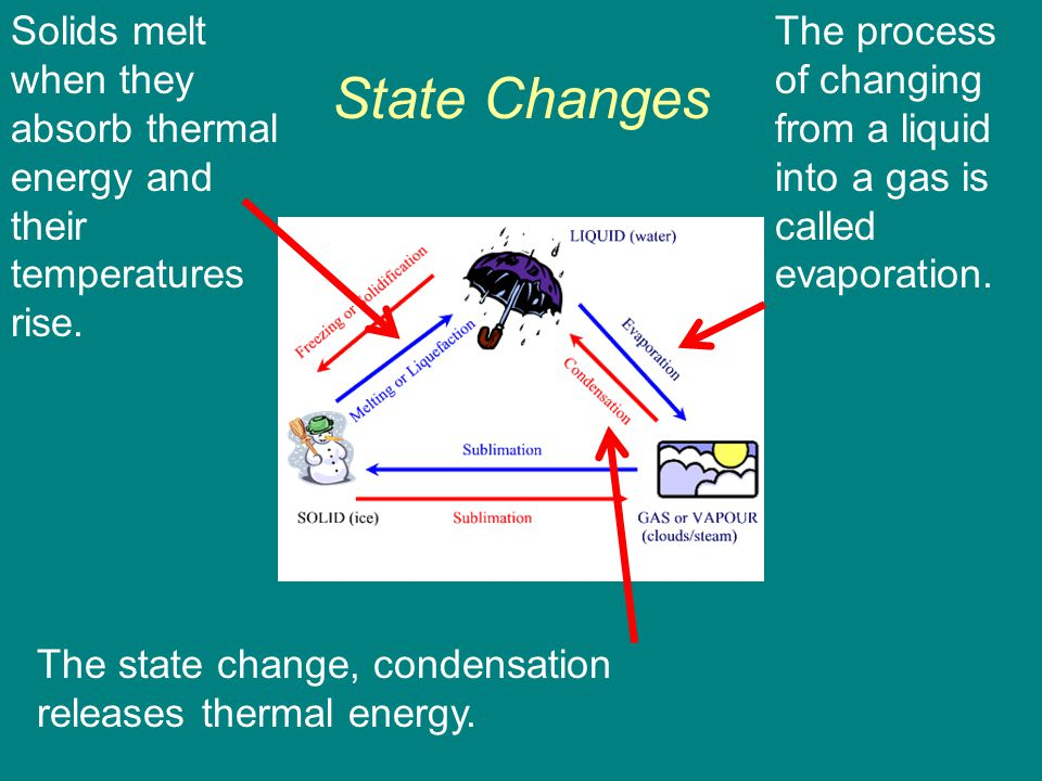 Solids melt when they absorb thermal energy and their temperatures rise.