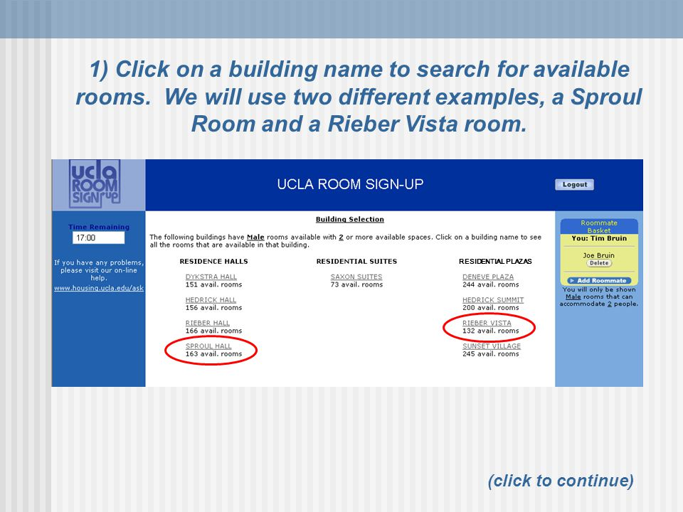 1) Click on a building name to search for available rooms