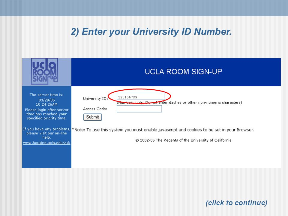 2) Enter your University ID Number.