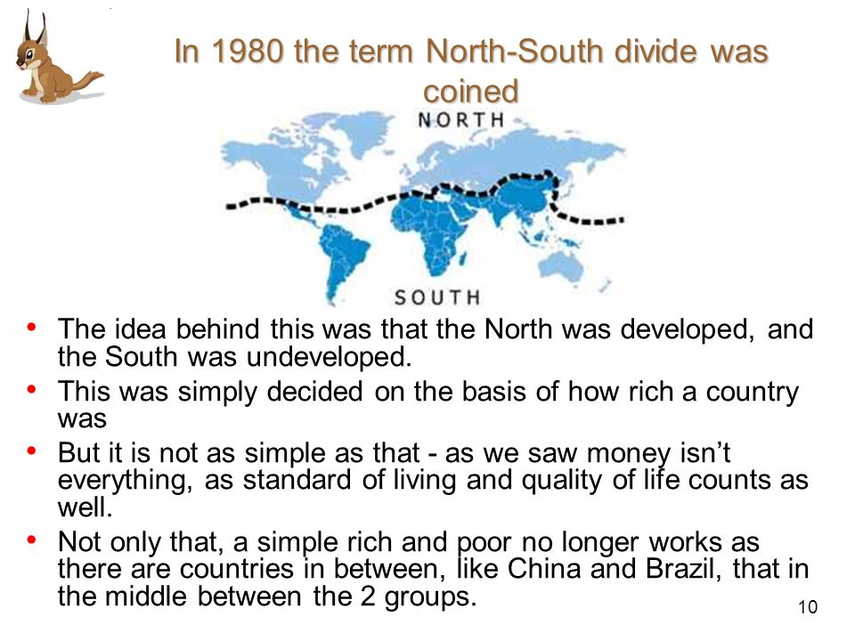 In 1980 the term North-South divide was coined