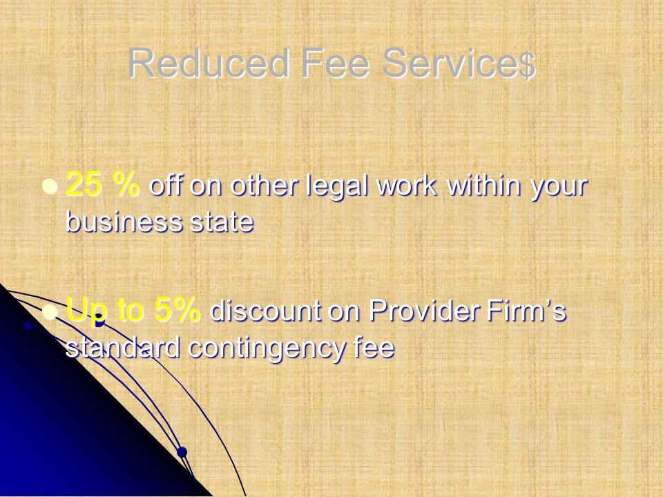 Reduced Fee Service$ 25 % off on other legal work within your business state.