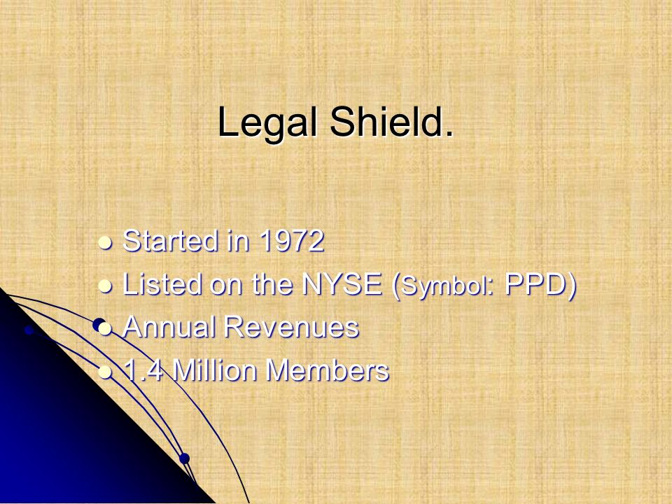Legal Shield. Started in 1972 Listed on the NYSE (Symbol: PPD)
