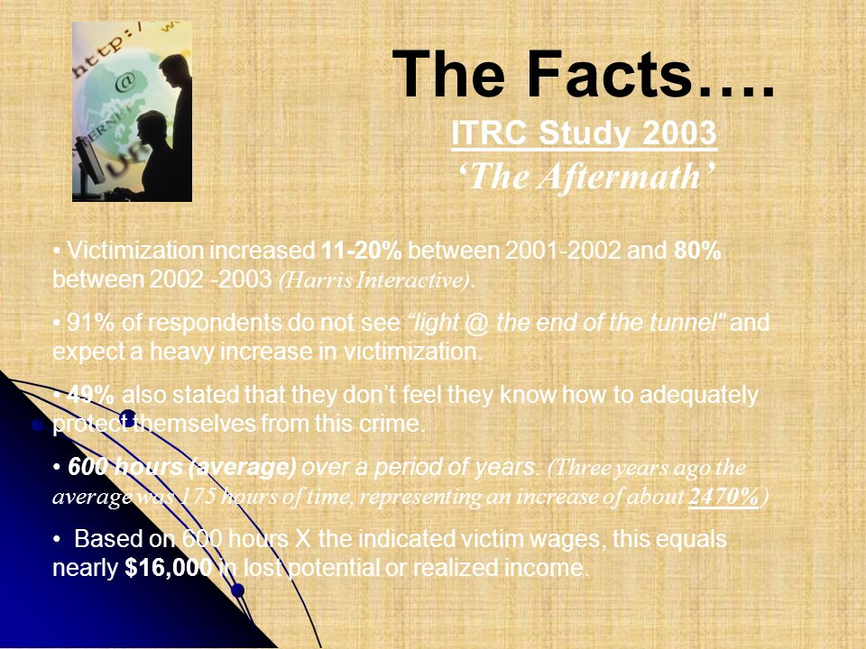 The Facts…. 'The Aftermath' ITRC Study 2003