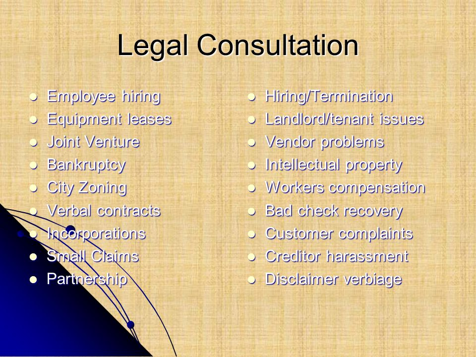 Legal Consultation Employee hiring Equipment leases Joint Venture