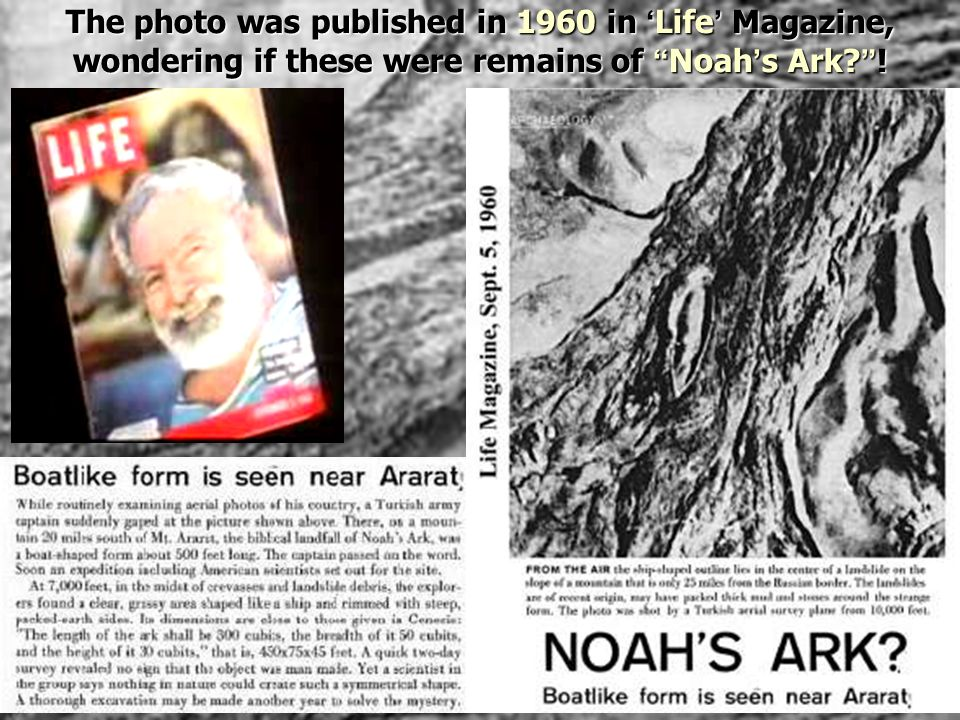 The photo was published in 1960 in 'Life' Magazine, wondering if these were remains of Noah's Ark !