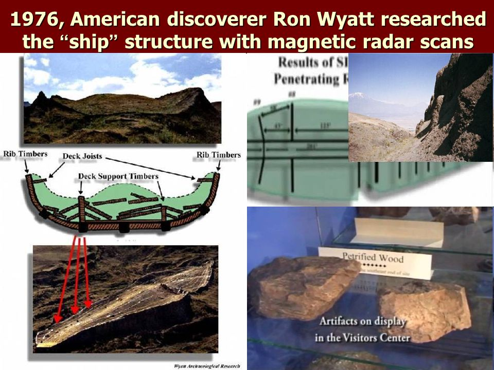 1976, American discoverer Ron Wyatt researched the ship structure with magnetic radar scans