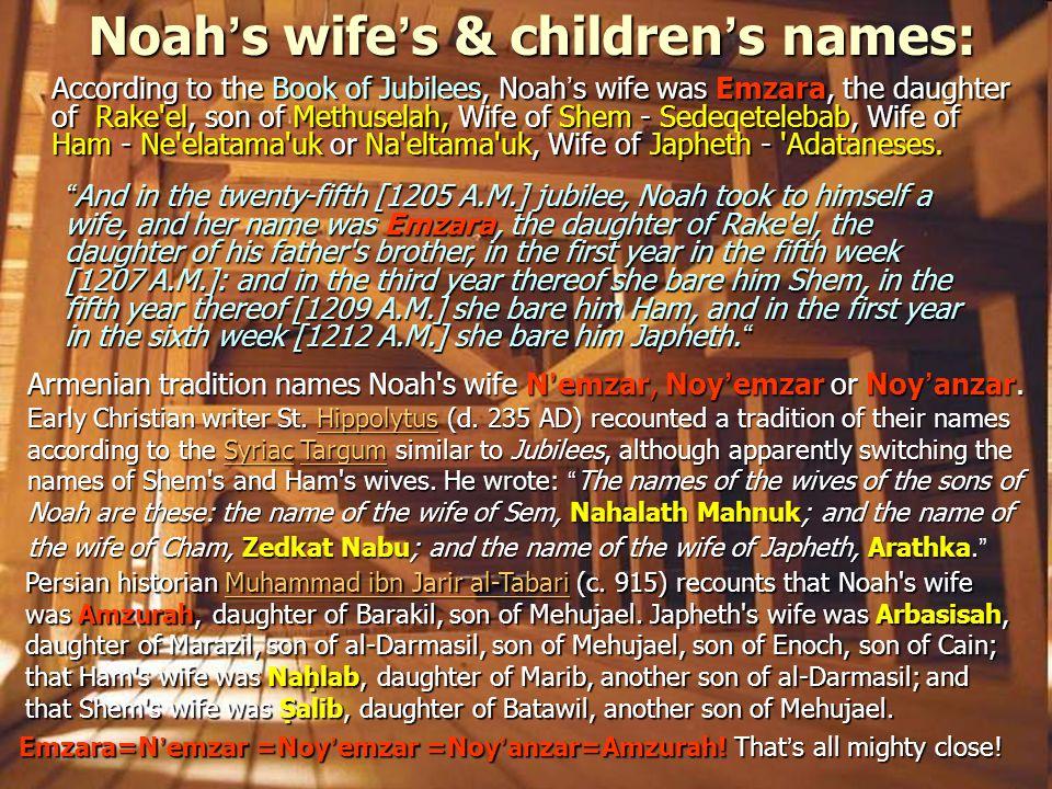 Noah's wife's & children's names: