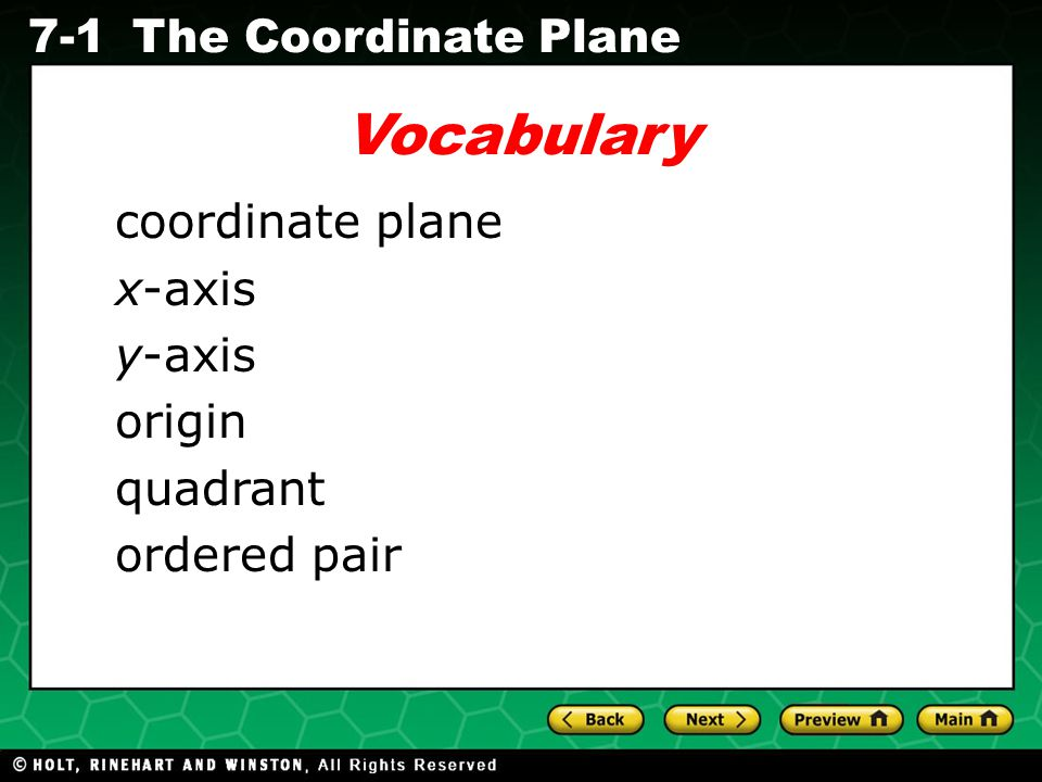 Vocabulary coordinate plane x-axis y-axis origin quadrant ordered pair