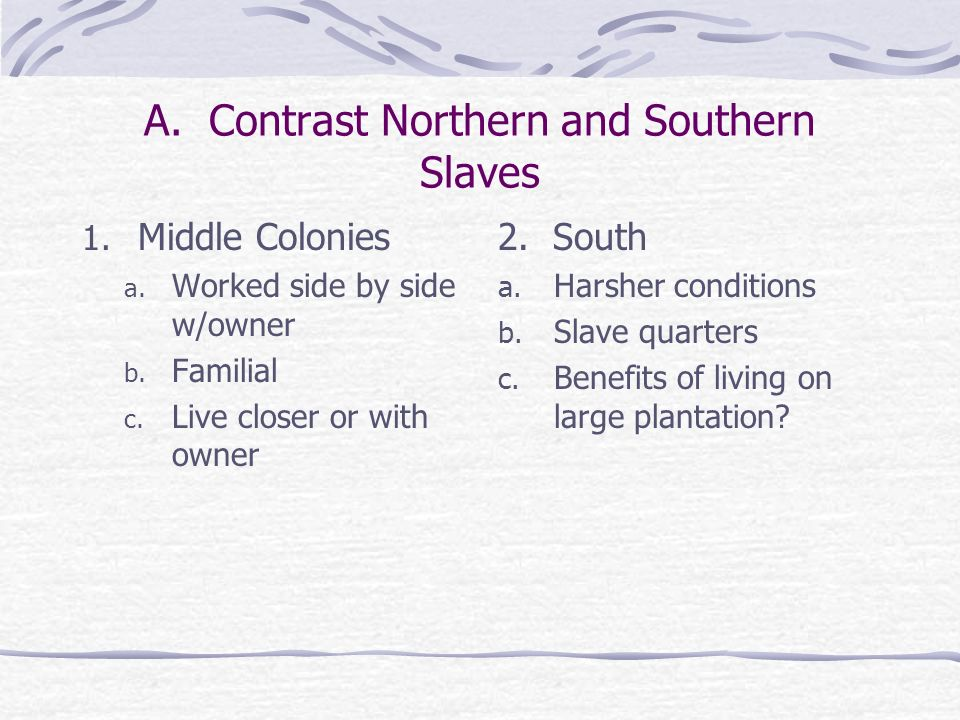 A. Contrast Northern and Southern Slaves