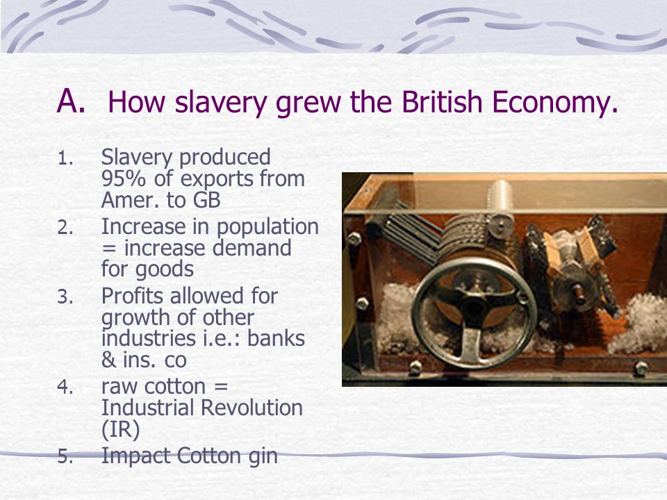 A. How slavery grew the British Economy.