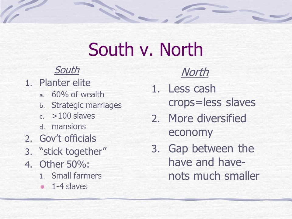 South v. North North Less cash crops=less slaves
