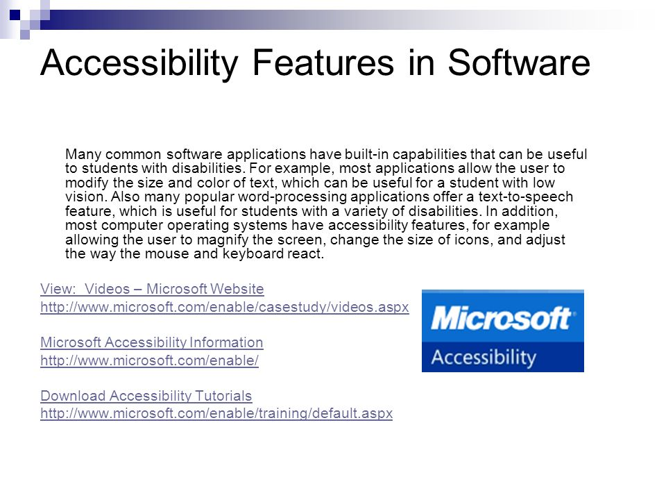 Accessibility Features in Software