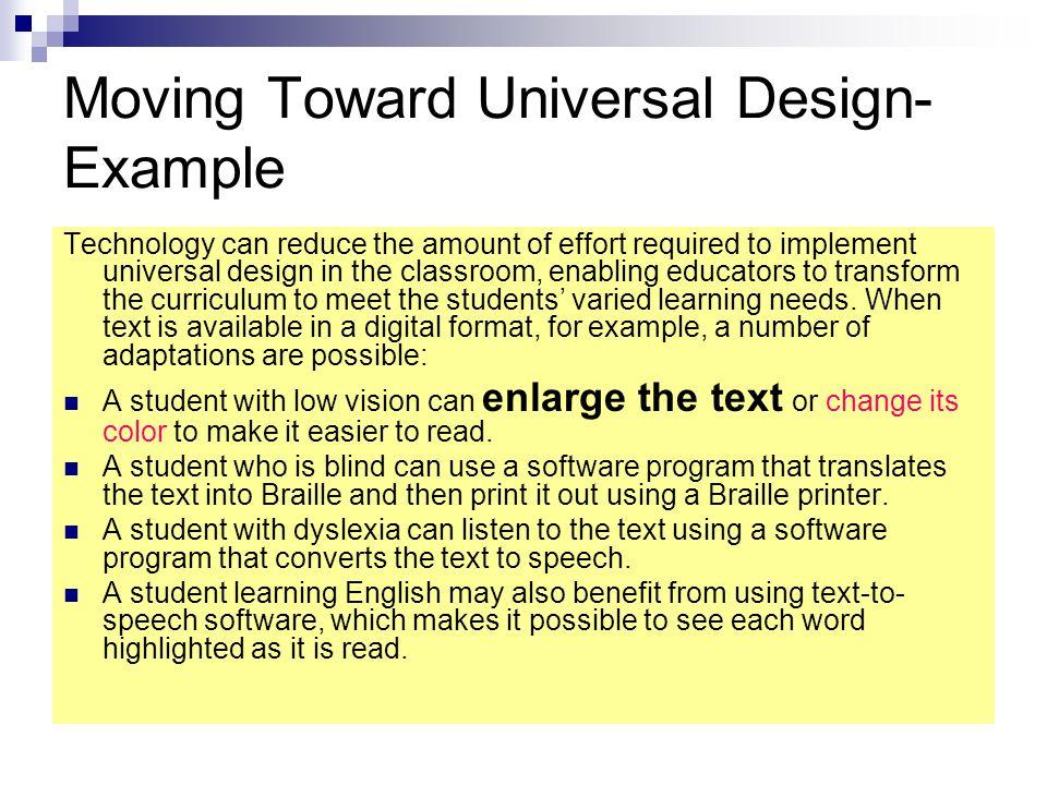 Moving Toward Universal Design- Example
