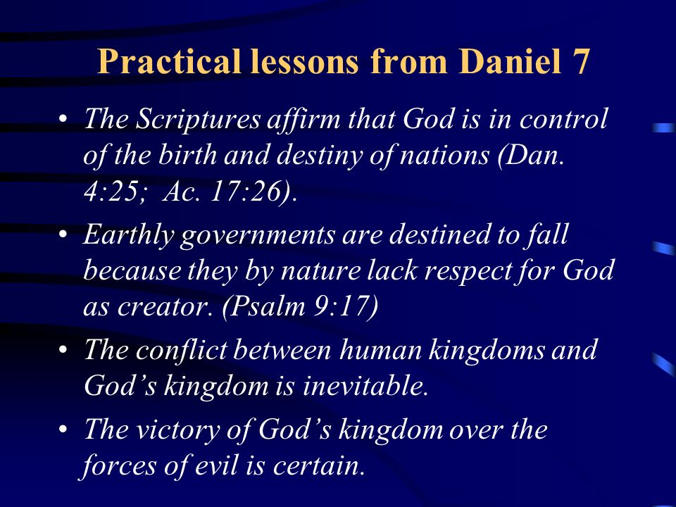Practical lessons from Daniel 7
