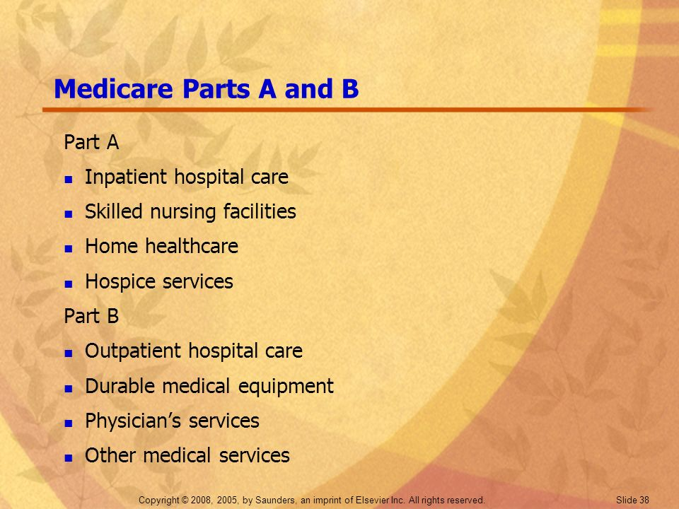 Medicare Parts A and B Part A Inpatient hospital care
