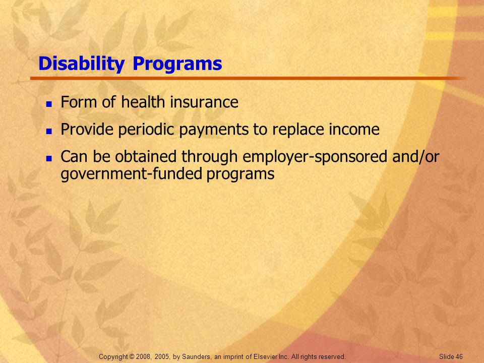 Disability Programs Form of health insurance