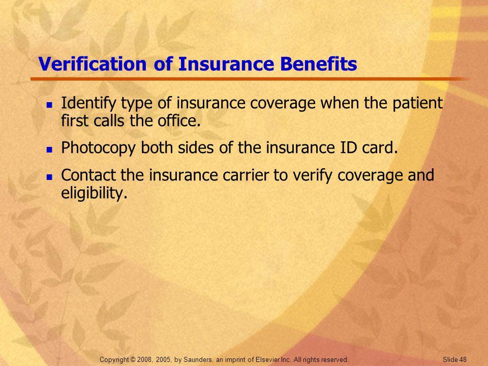 Verification of Insurance Benefits